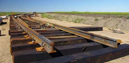 Photo of new railroad track construction