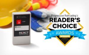Photo of REAct device with Progressive Railroad's Reader's Choice Awards logo